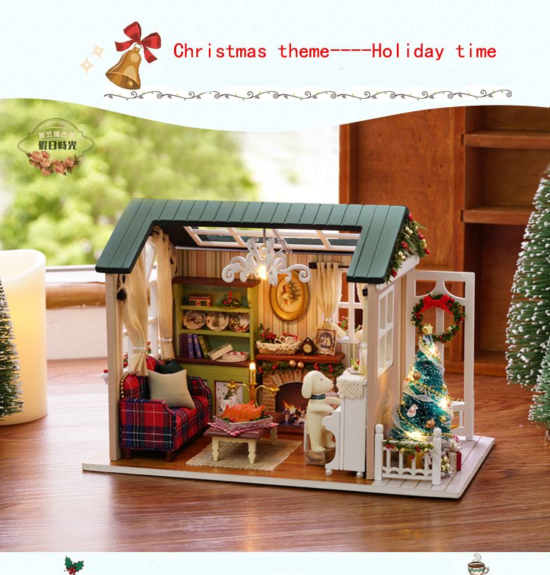 Christmas Gifts Diy Doll House Miniature Wooden Puzzle Dollhouse