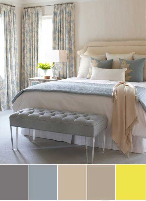 Colour schemes: bedroom in pastel shades (gray, beige, gray-blue ...