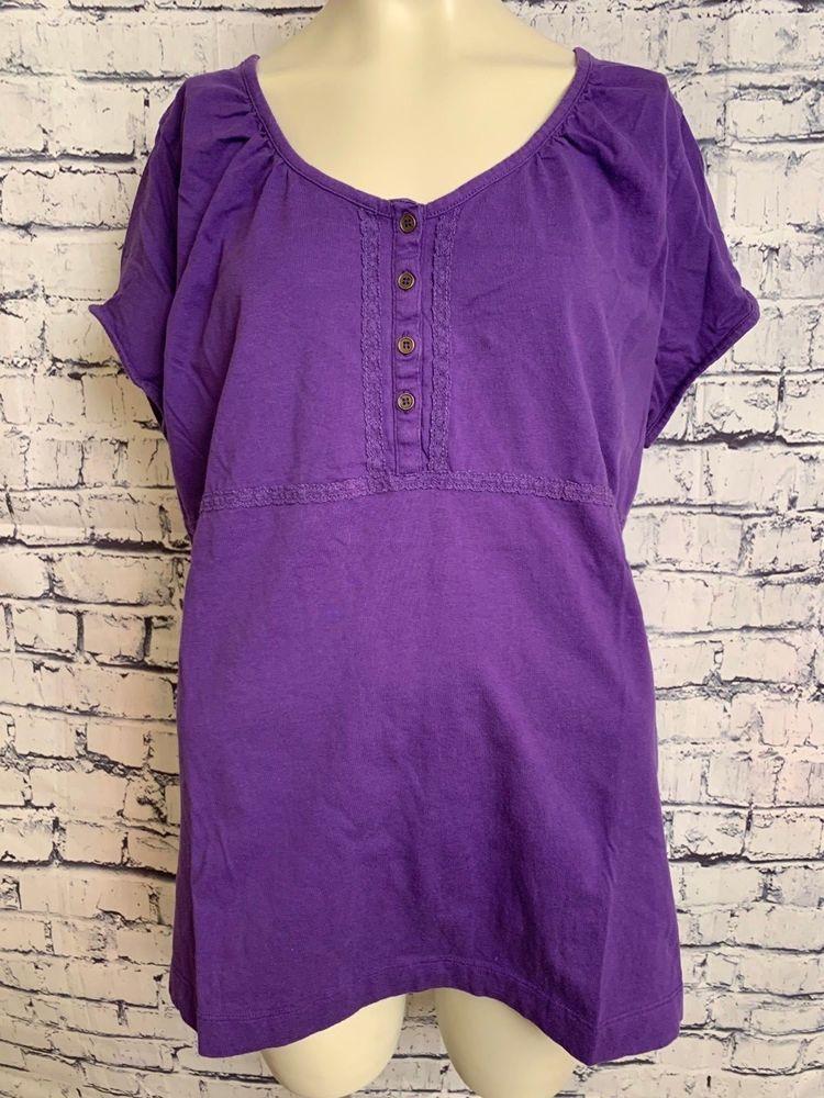90a6f83d29f41 JW Women Plus Size 2X Shirt Purple Scoop Neck Short Sleeve Buttons Pullover  Top  JWWomen