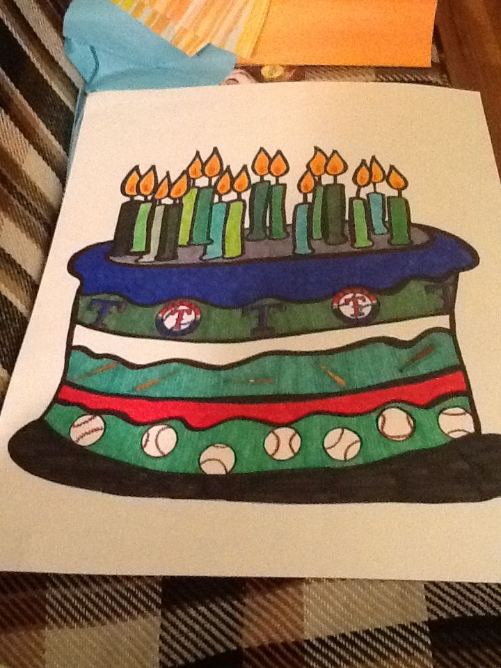 A Giant Hand Drawn By Me Rangers Cake Birthday Poster Board Card