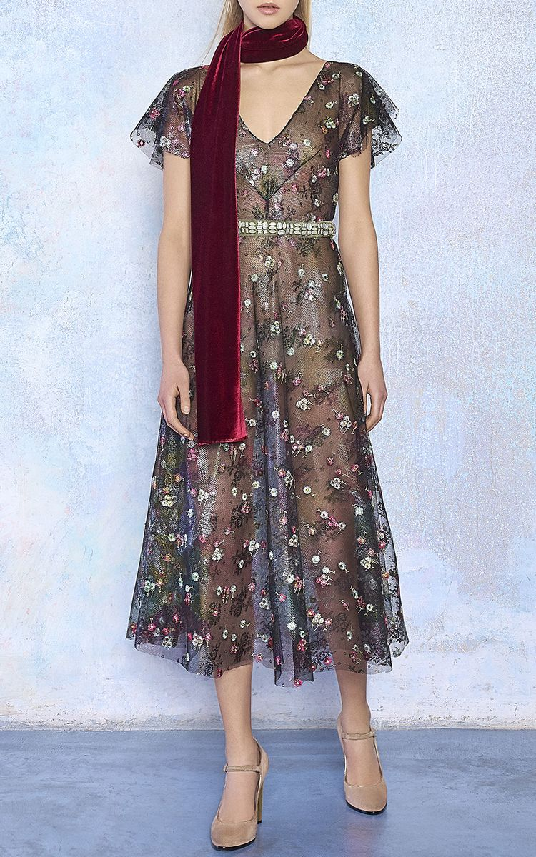 Short Sleeve Floral Embroidered Midi Dress by LUISA BECCARIA for Preorder on Moda Operandi