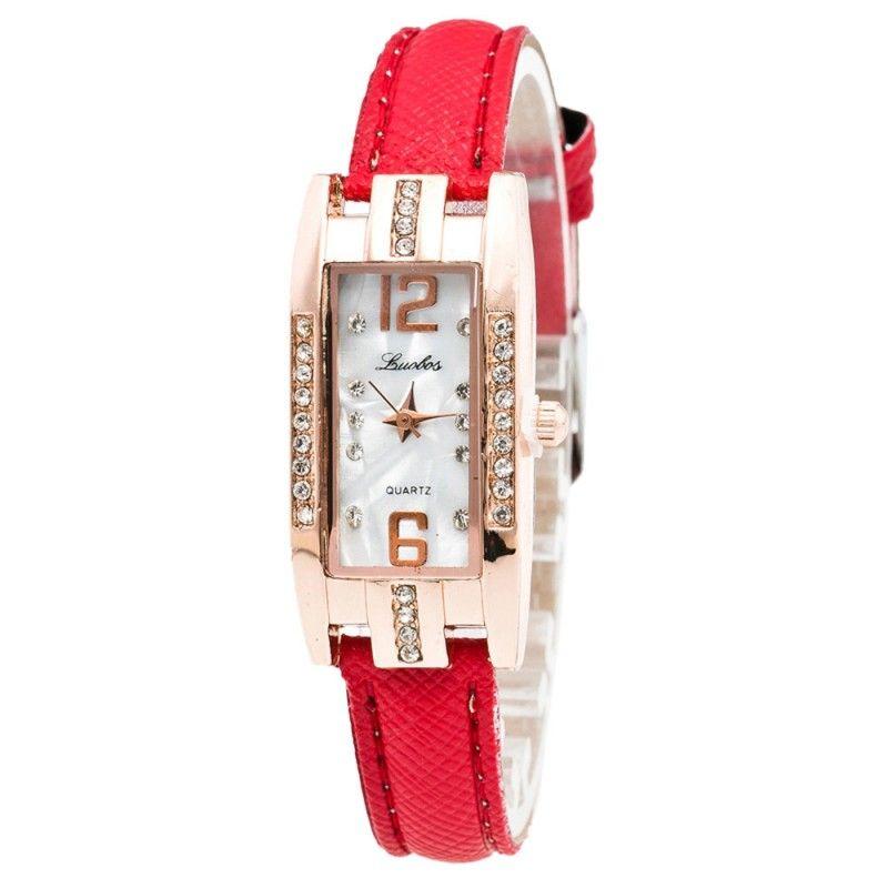 35b745c2839 Relógio Fino Retangular Feminino com Cristais Quartzo Elegante ...