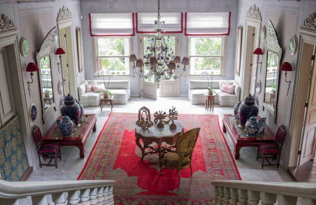 An antique Oushak carpet dominates the marbled foyer of Sedar Gulgun's home in Istanbul.