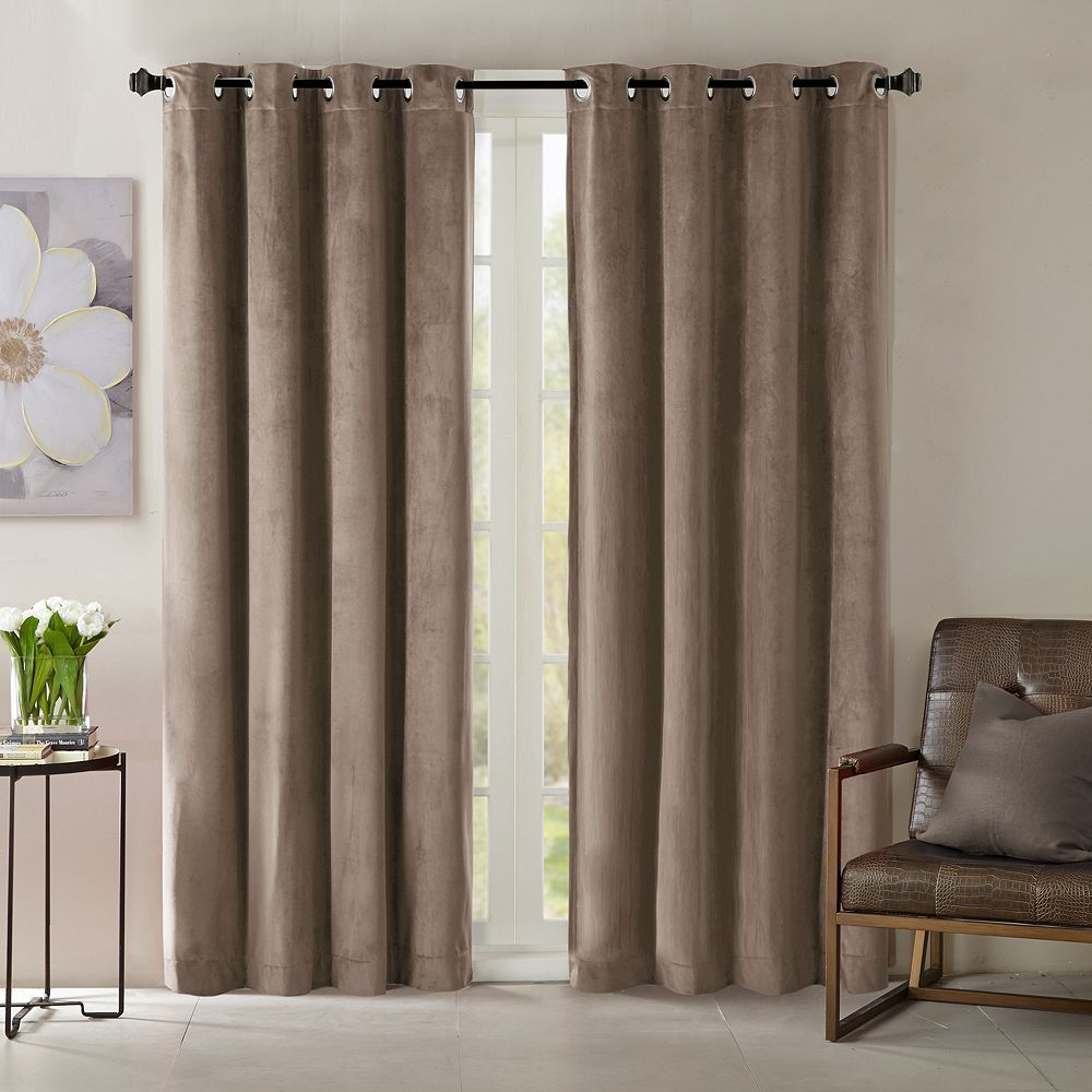 3 window bedroom curtains  madison park yvette velvet window curtain beiggreen beigkhaki