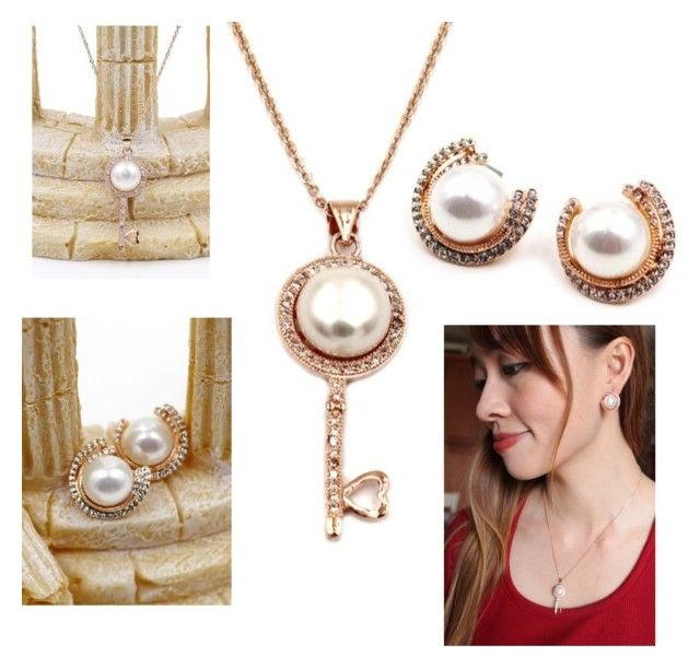"""""""Fashion pearl and crystal necklace earrings rose gold  set"""" by oceanfashion on Polyvore featuring ファッション"""