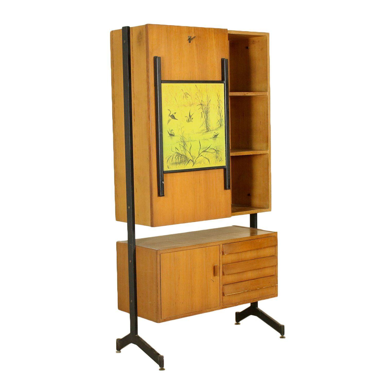 Drop Leaf Desk Teak Veneer Metal Vintage Manufactured in