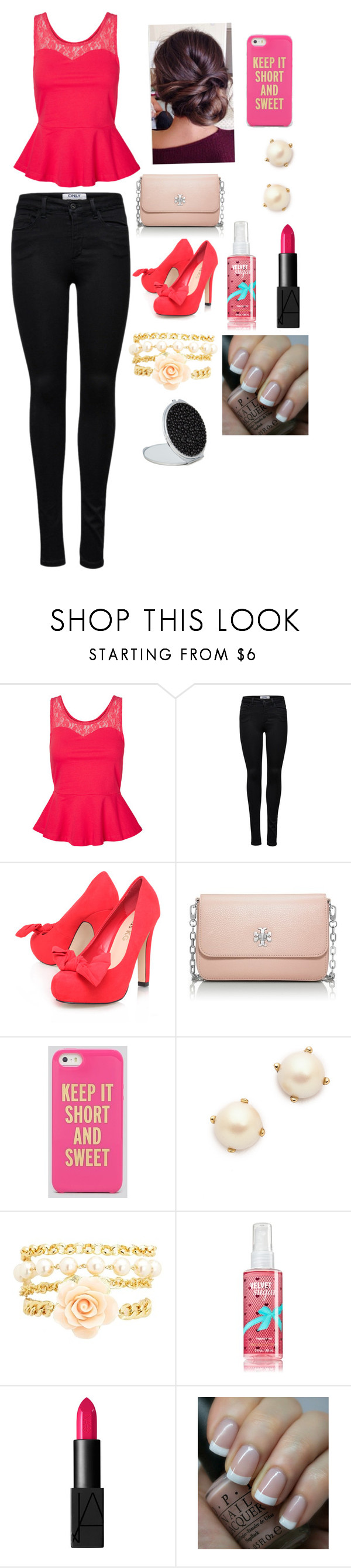 """""""It's Your Moment."""" by uniqu3ly-m3 ❤ liked on Polyvore featuring Vero Moda, ONLY, Miss KG, Tory Burch, Kate Spade, Charlotte Russe, NARS Cosmetics and OPI"""