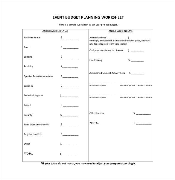 event planning budget template planning for event budget template
