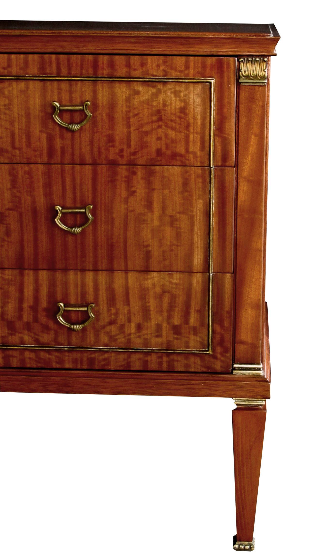 Stylish French Three Drawer Tiger Mahogany Chest In The Style Of Maison  Jansen