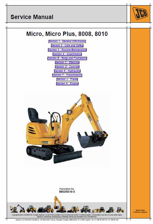 Jcb 8008 8010 Micro Micro Plus Excavator Service Manual Excavator Manual Repair Manuals