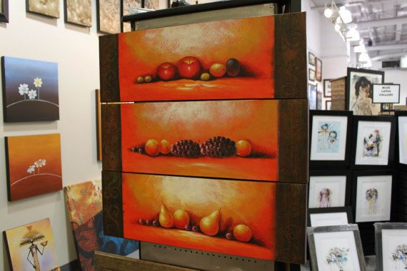 Red Apple Grape Pear Peach Portrait Art Wine Cellar Decor Red 4 Panel Fruit Platter Art Acrylic Painting Fruit Portrait Winery Wall Art Deco