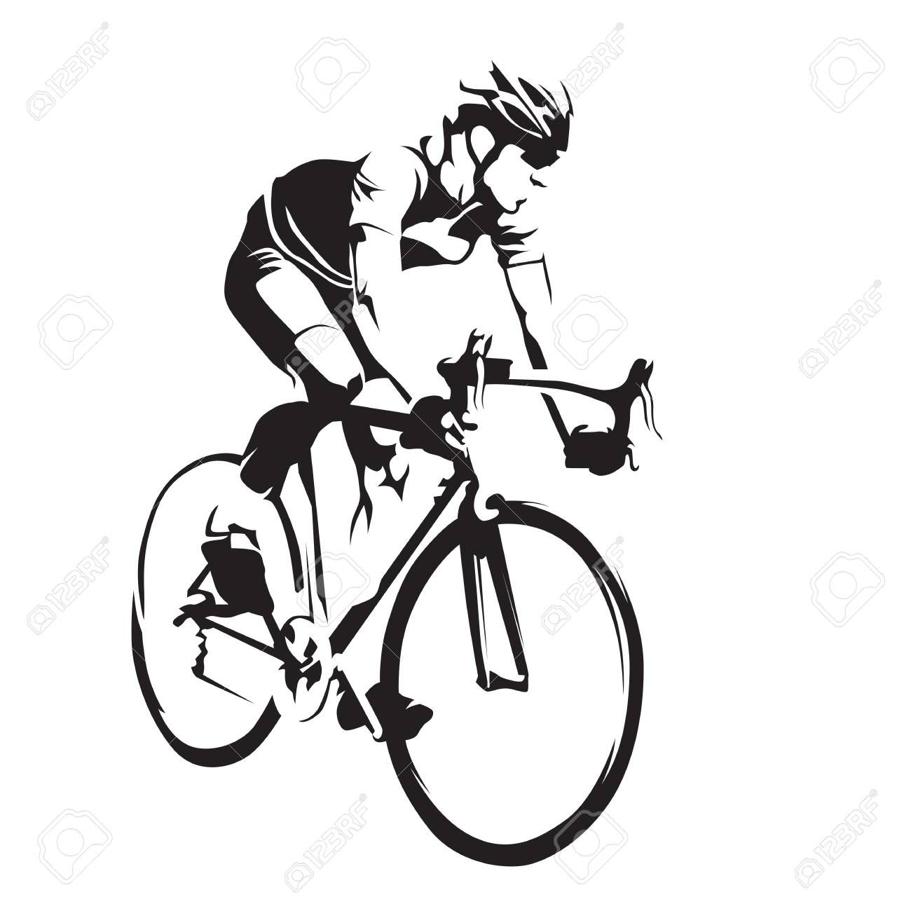 Cyclist On His Road Bike Cycling Abstract Vector