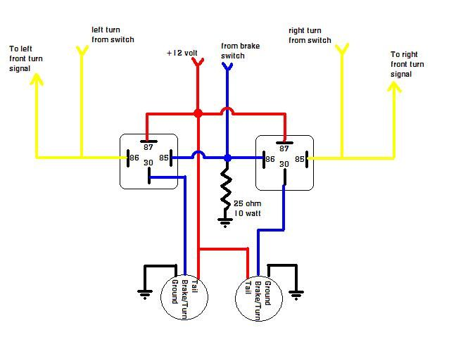 from your wiring diagram, you should splice a wire from the brake switch to the two wires going