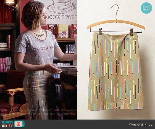 Aria's pencil print skirt on Pretty Little Liars.  Outfit Details: https://wornontv.net/55392/ #PLL