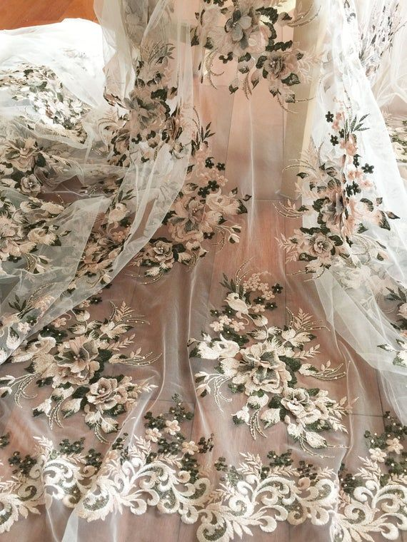 Silver lace 3d floral flowers embroidered on mesh rinesthone sequin pearl fabric sold by the yard wedding gown gorgeous prom dress Evening