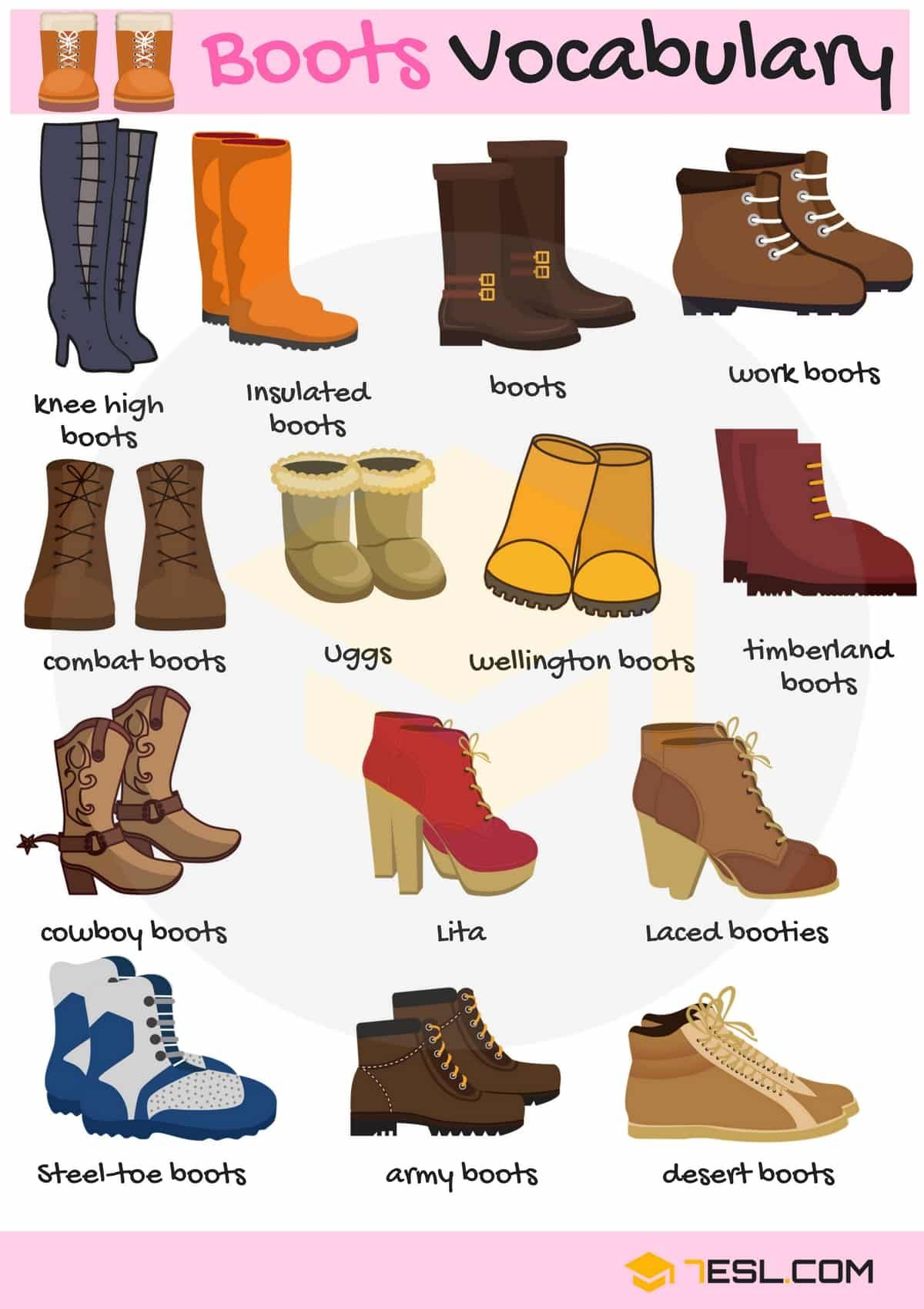 Types Of Boots Useful Boot Names In English With Pictures