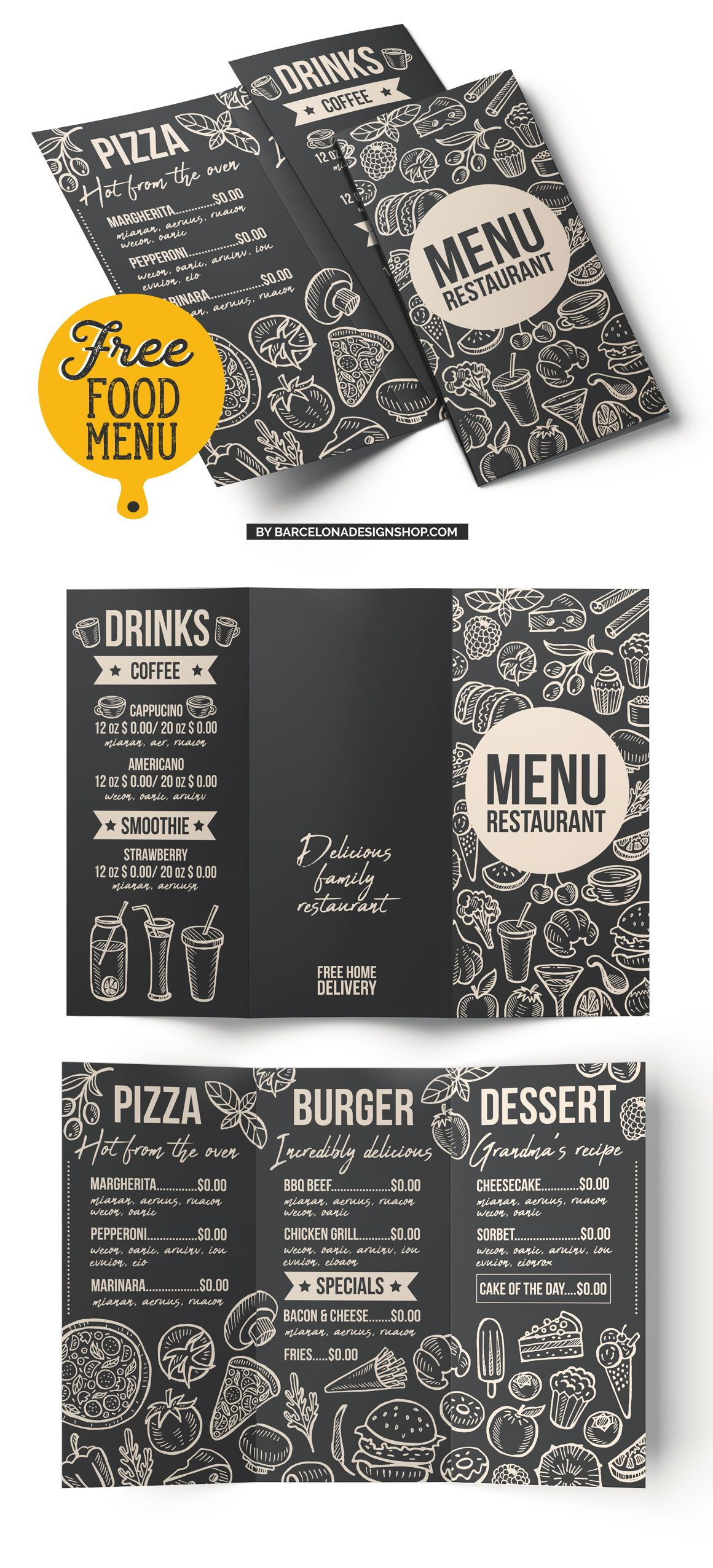 Free food menu template restaurant photoshop psd burger pizza ...