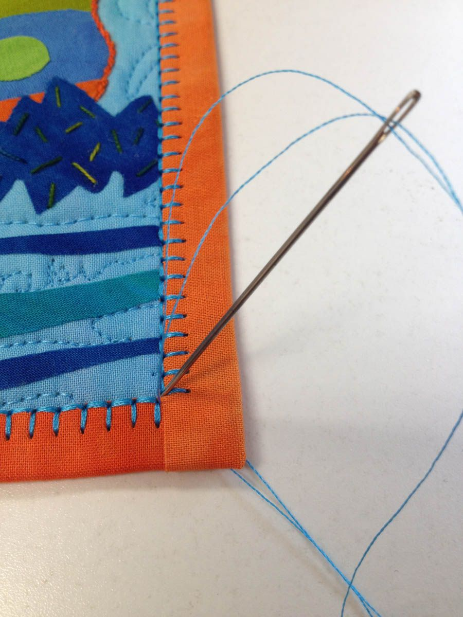 Binding stitch tip bring top thread to the back of the quilt at