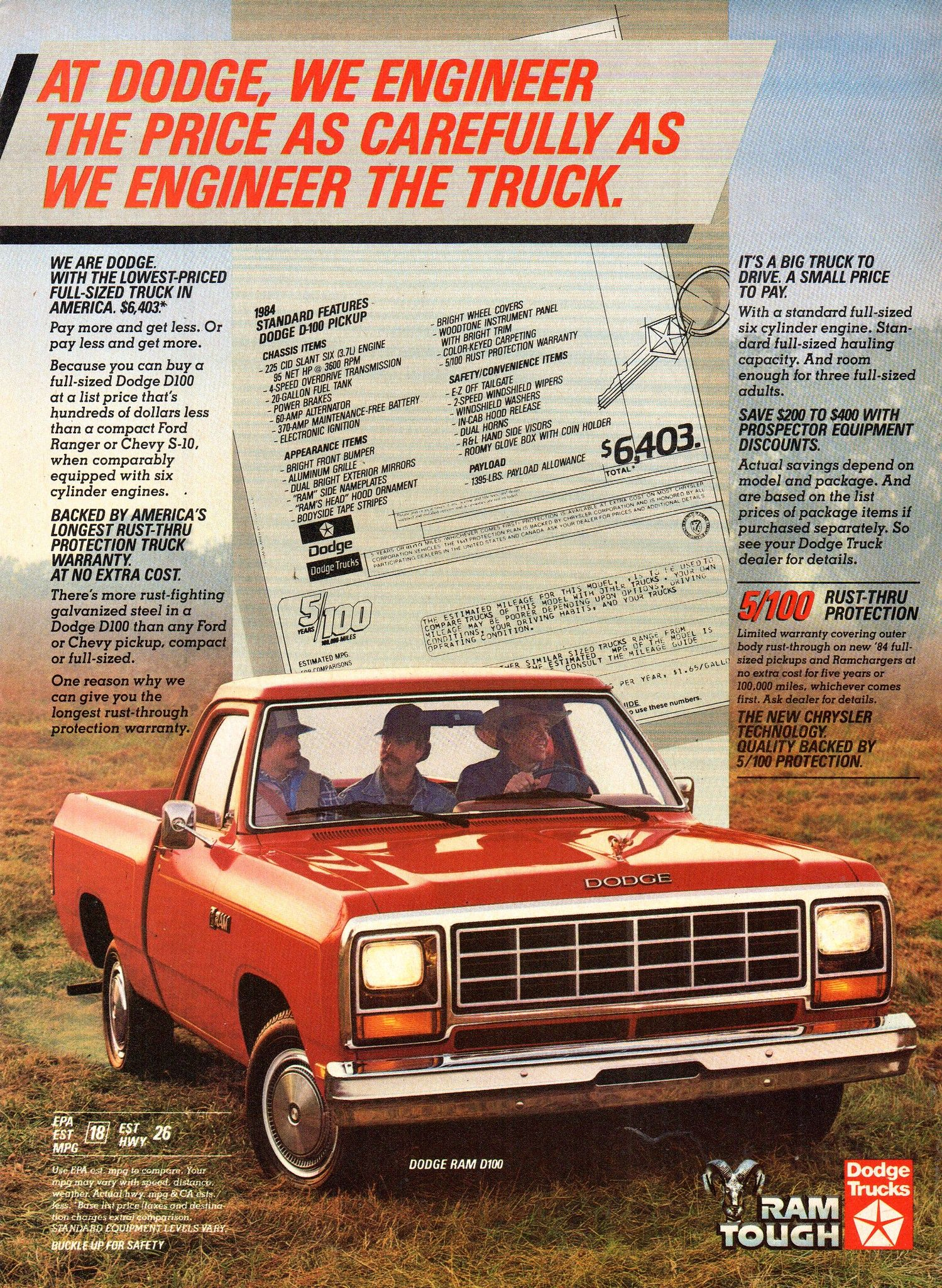 1984 Dodge Ram D100 Pickup Truck Chrysler Corporation Usa Original Magazine Advertisement Vintage Pickup Trucks Old Dodge Trucks Pickup Trucks