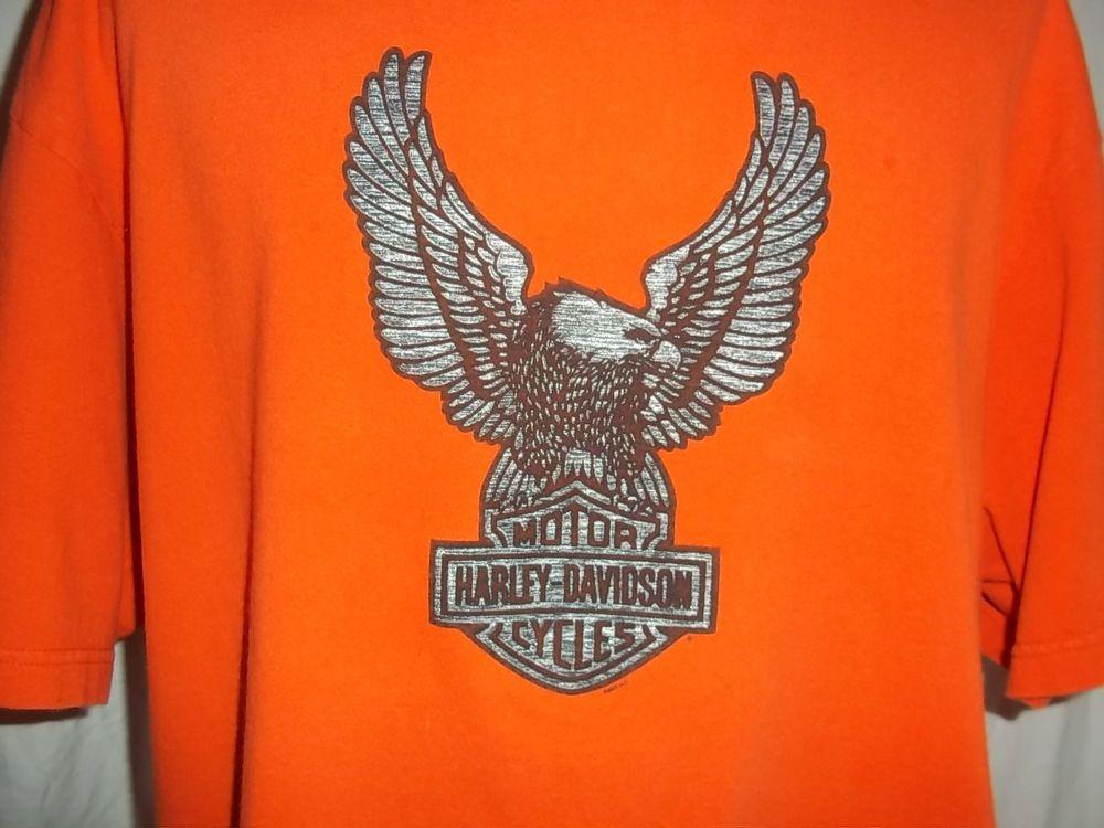 harley davidson sacramento ca xl orange t-shirt bar & shield h13