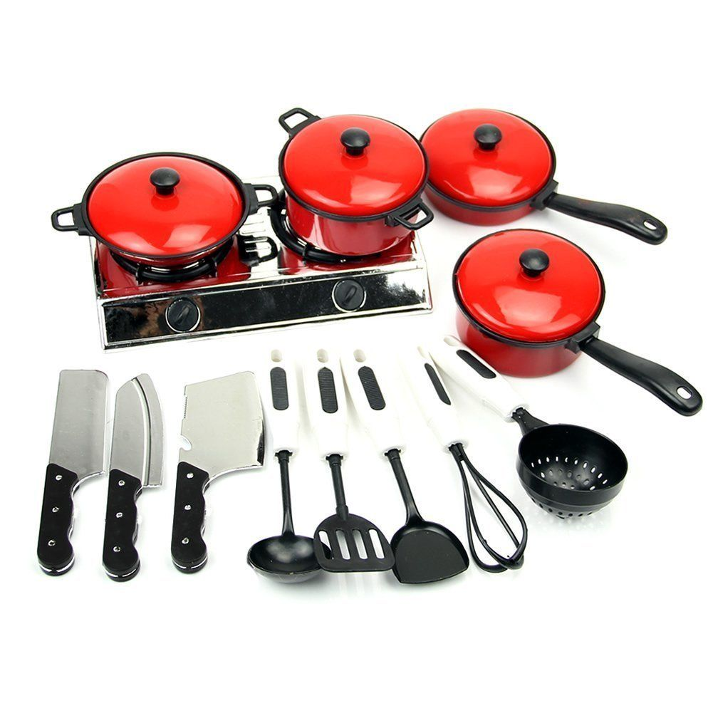 TopSun 13 Sets Red Tone Kids Play House Kitchen Toy Include Kitchen Pots Pans Cooking Food Dishes Cookware Cookware Playset