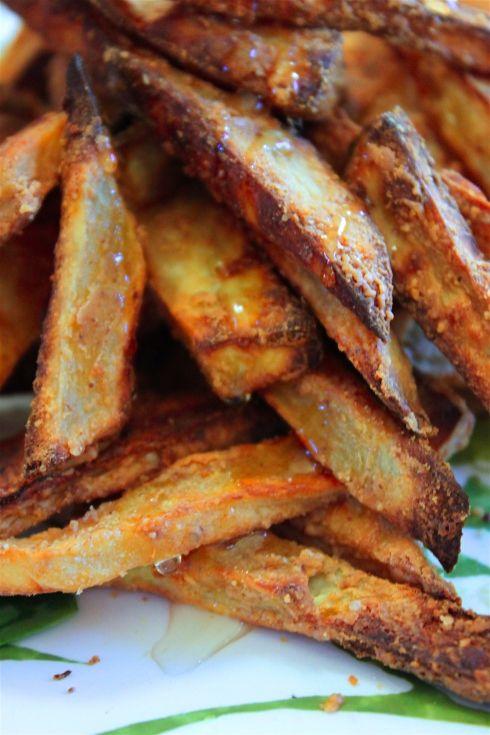 Nut butter coated sweet potato fries