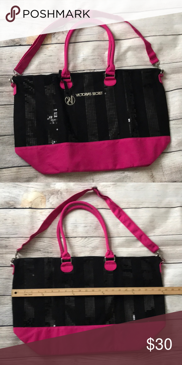 3fcbbb0d30c Victoria s Secret Black Friday Tote Victoria s Secret Black Friday Tote.  Pink and black with sequins!! Gorgeous!! Zip top closure, two handles and  ...