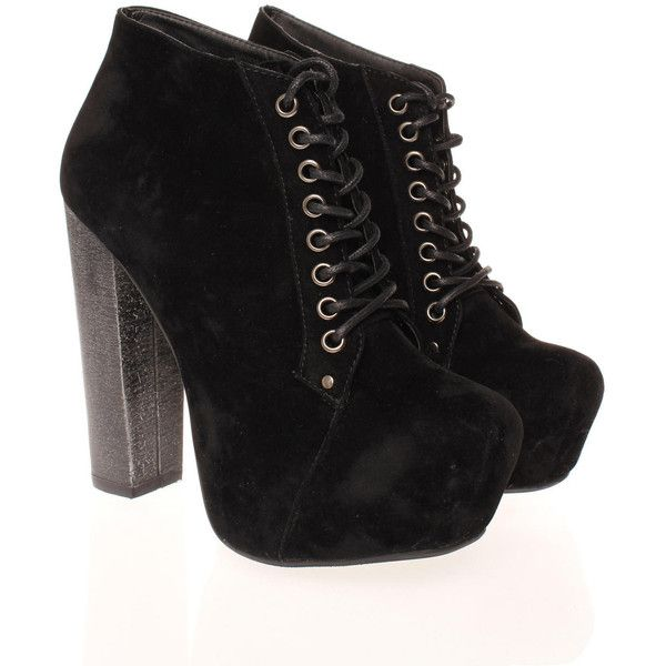 Black Suede Platform Lace Up Shoe Boots (65 AUD) ❤ liked on Polyvore featuring shoes, boots, ankle booties, heels, zapatos, black boots, black suede booties, black lace up boots, black lace up booties and suede booties