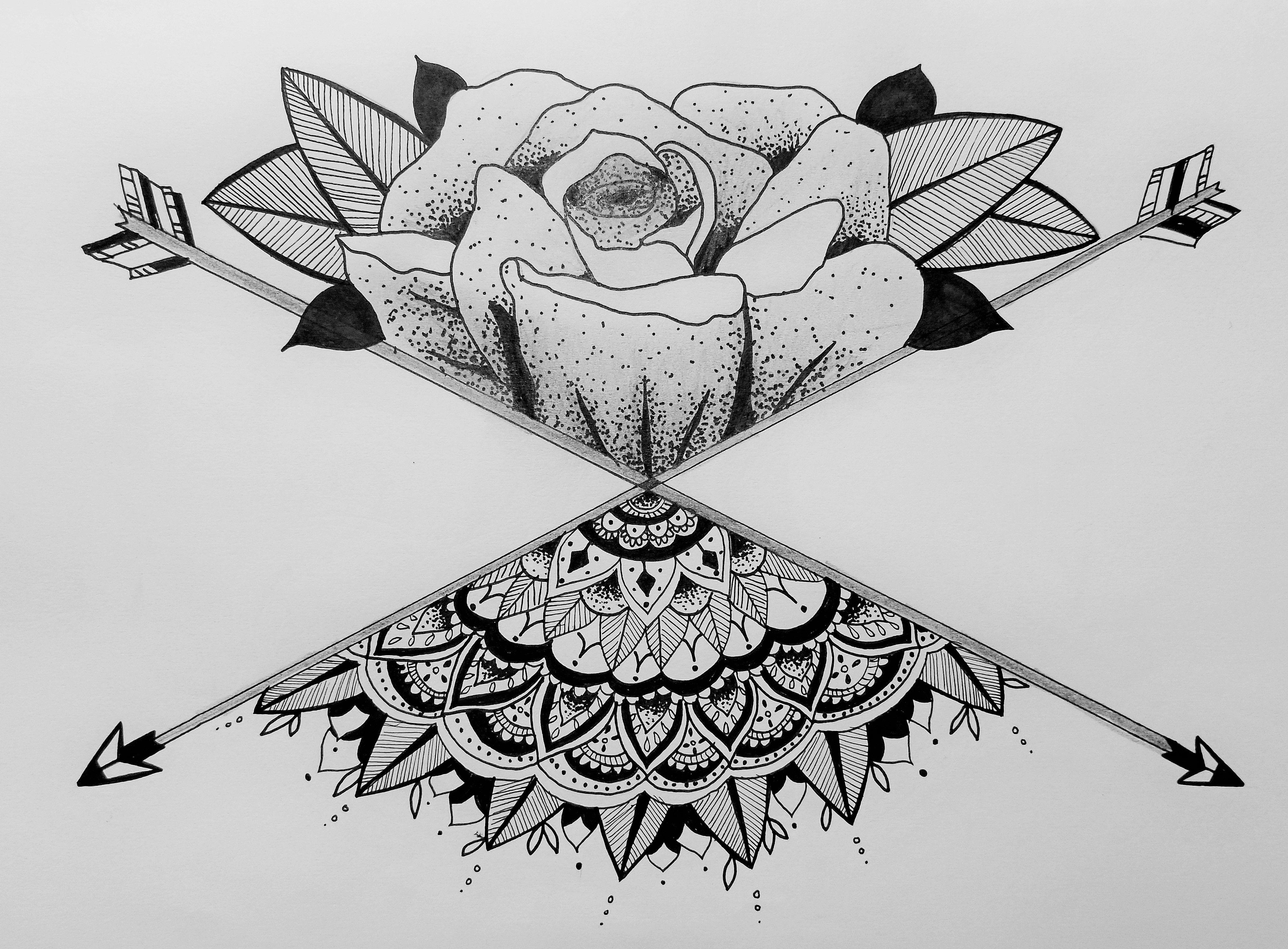 Rose Floral Mandala Henna Zentangle Geometric Arrow Tattoo Design