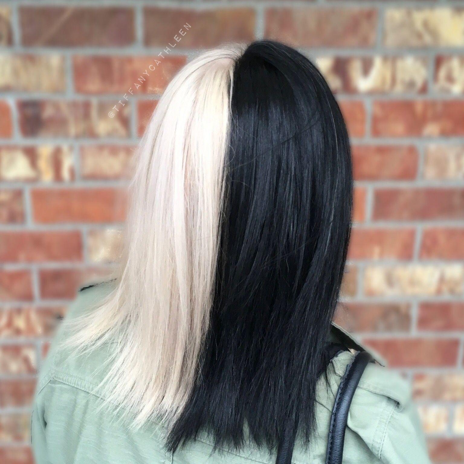 Cruella Deville Inspired Hair Half Black Half Platinum Blonde