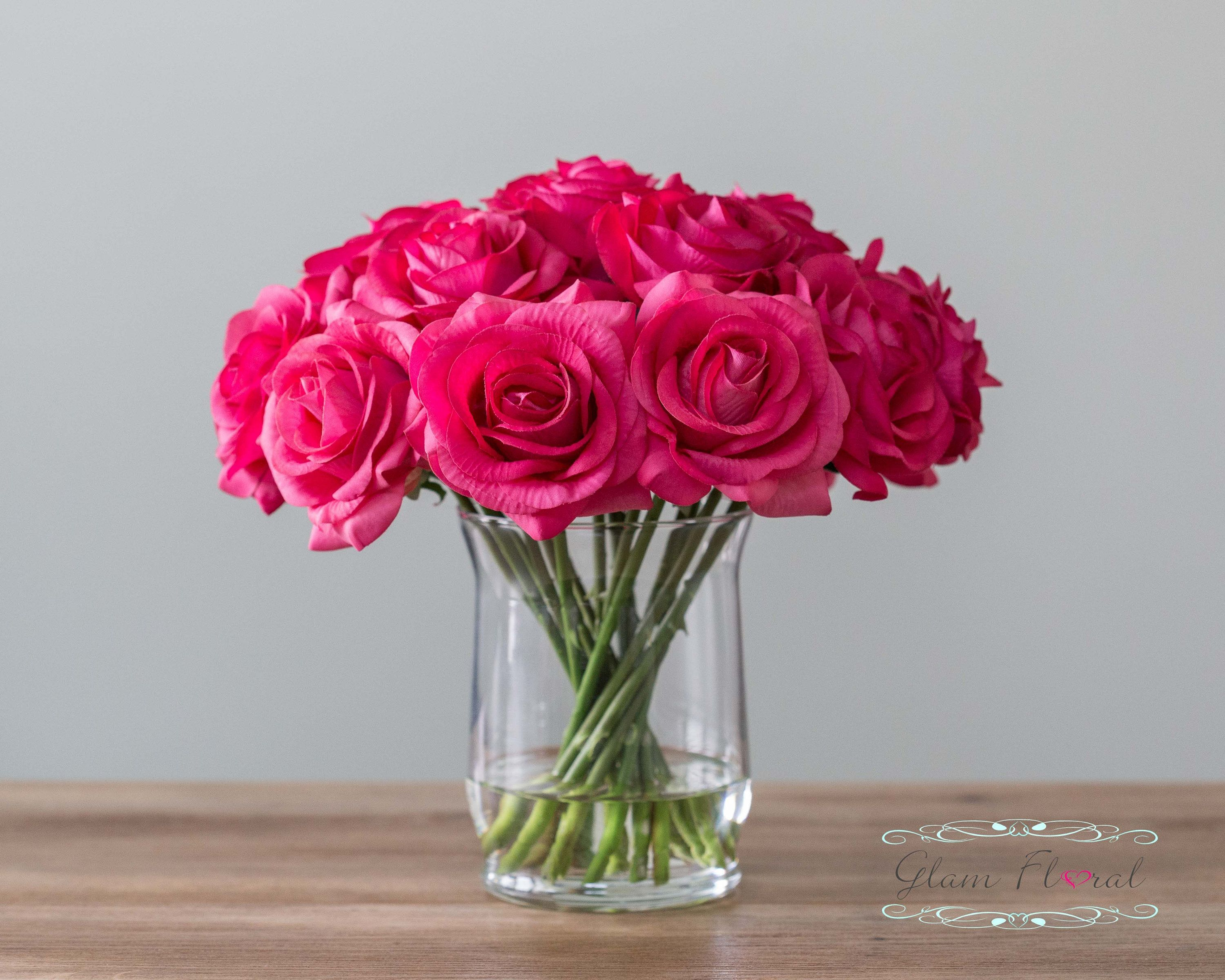 Real Touch Rose Flower Arrangement Fuchsia Dark Pink Roses In Faux Water Clear Glass Vas Rose Flower Arrangements Pink Flower Arrangements Flower Arrangements