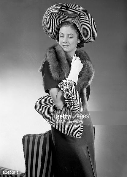 Hat and bag ensembles like the spectacular striped velvet set which Elizabeth Reller of CBS Radios Young Dr Malone cast selects to start off the fall...