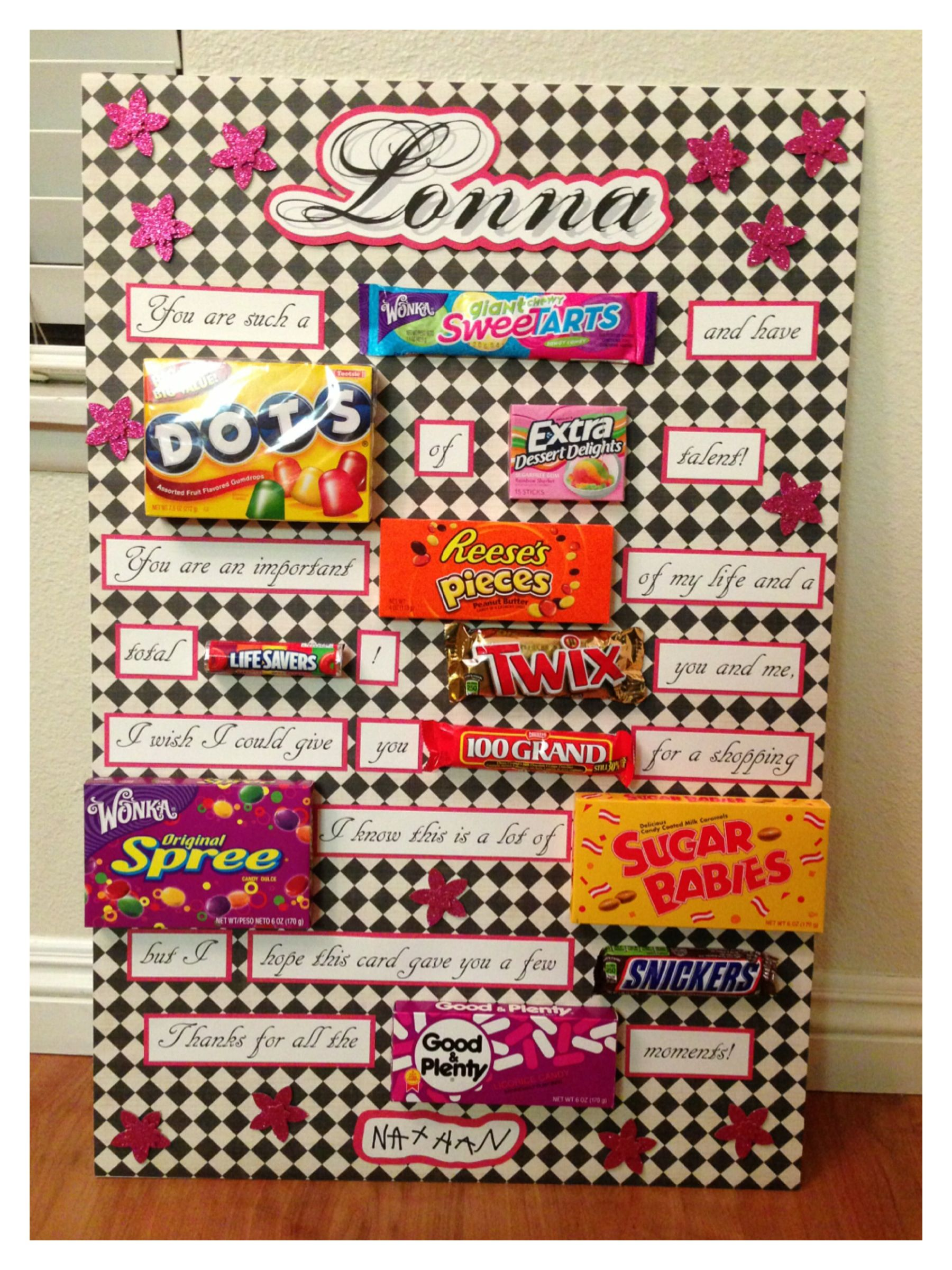 Candy card for birthday teacher appreciation or any occasion