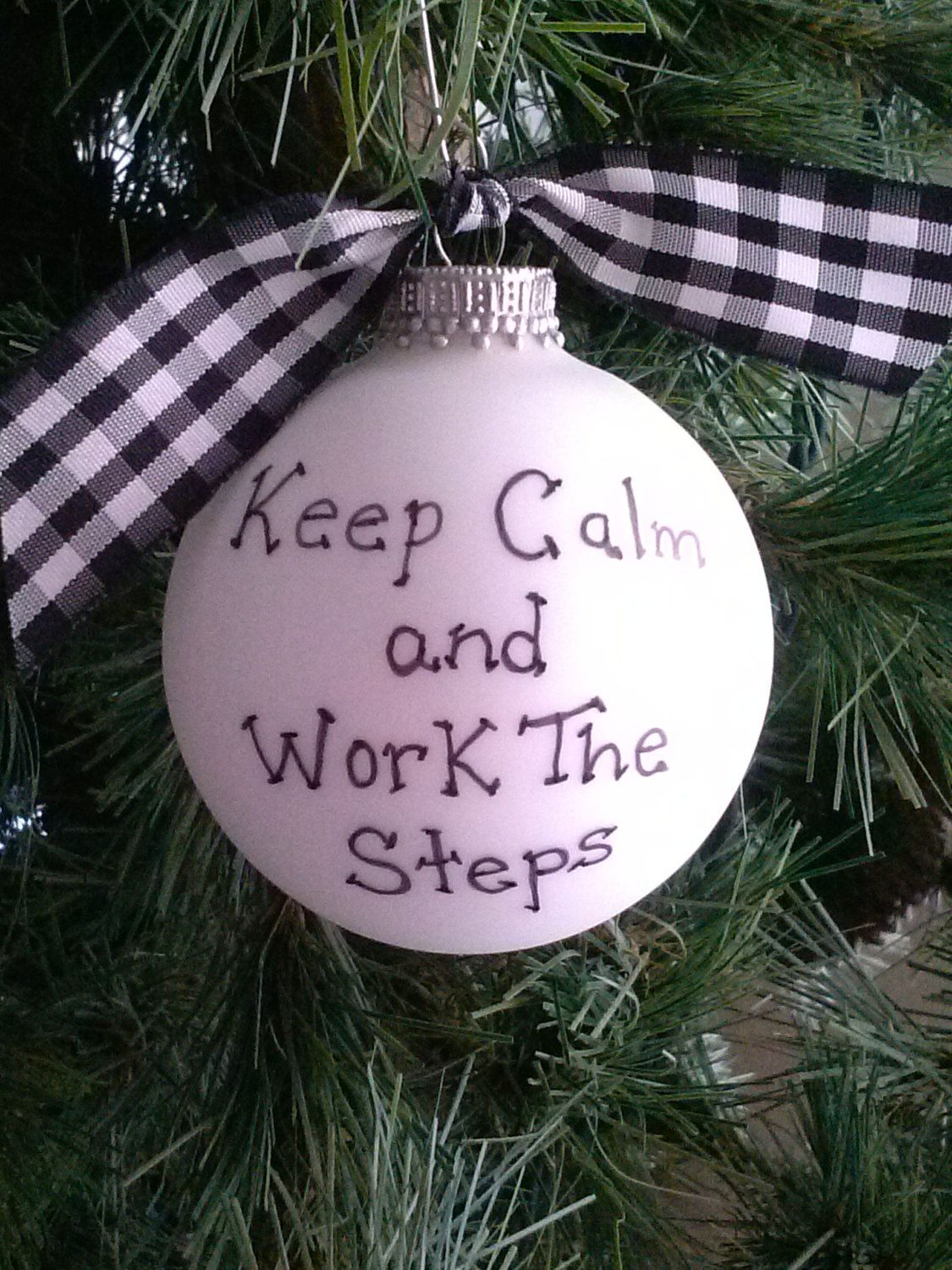 AA / NA Recovery Christmas Ornament Sobriety Gift, Al-Anon Gift, Sponsor AA Anniversary Gift Keep Calm and Work the Steps 12 steps Addiction by ...