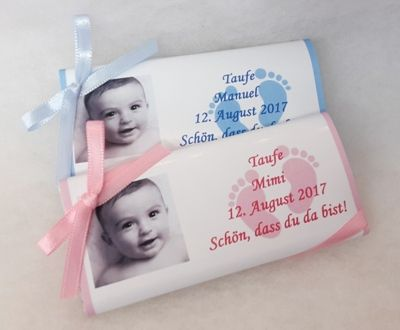 Taufe Gastgeschenke Personalisierte Schokolade Mädchenbub
