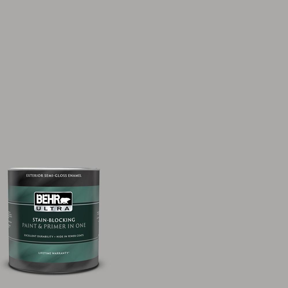 Behr Ultra 1 Qt Ppu18 14 Cathedral Gray Semi Gloss Enamel Exterior Paint And Primer In One Exterior Paint Paint Primer Behr Marquee