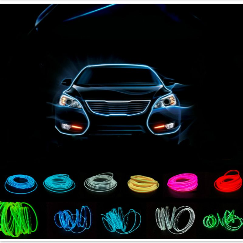 2,3mm 5 Mt Auto Interior LED EL Flexible Drahtseil-schlauch licht ...