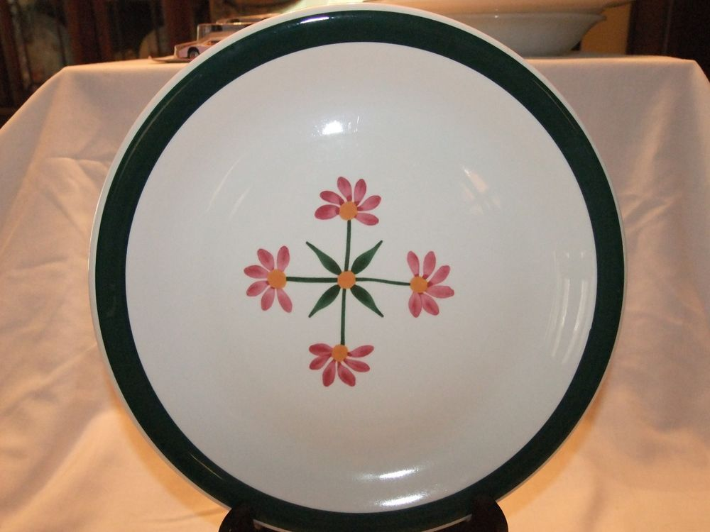 "Furio 10 1/4"" Dinner Plate Made in Italy Green Rim Pink Flowers Pottery #Furio"
