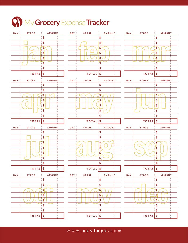 grocery expense tracker printables pinterest expense tracker
