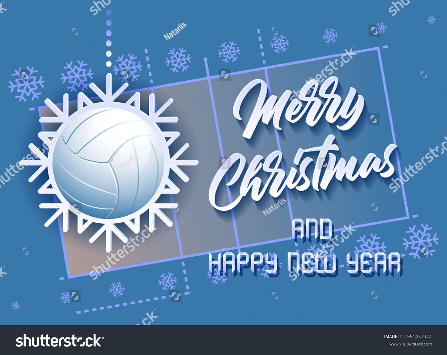 Merry Christmas And Happy New Year Sports Card With A Volleyball Ball As A Snowflake And A Volleyball Merry Christmas And Happy New Year Merry Merry Christmas