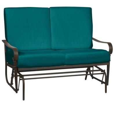 Hampton Bay Oak Cliff Brown Steel Outdoor Patio Glider With