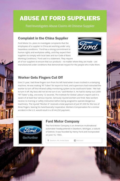 Abuse At Ford Suppliers