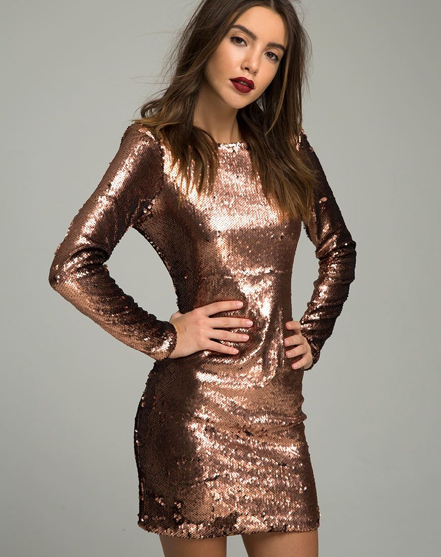 a84d6c4efcbe Gabby Plunge Back Dress in Metallic Sequin Copper by Motel | Fashion ...