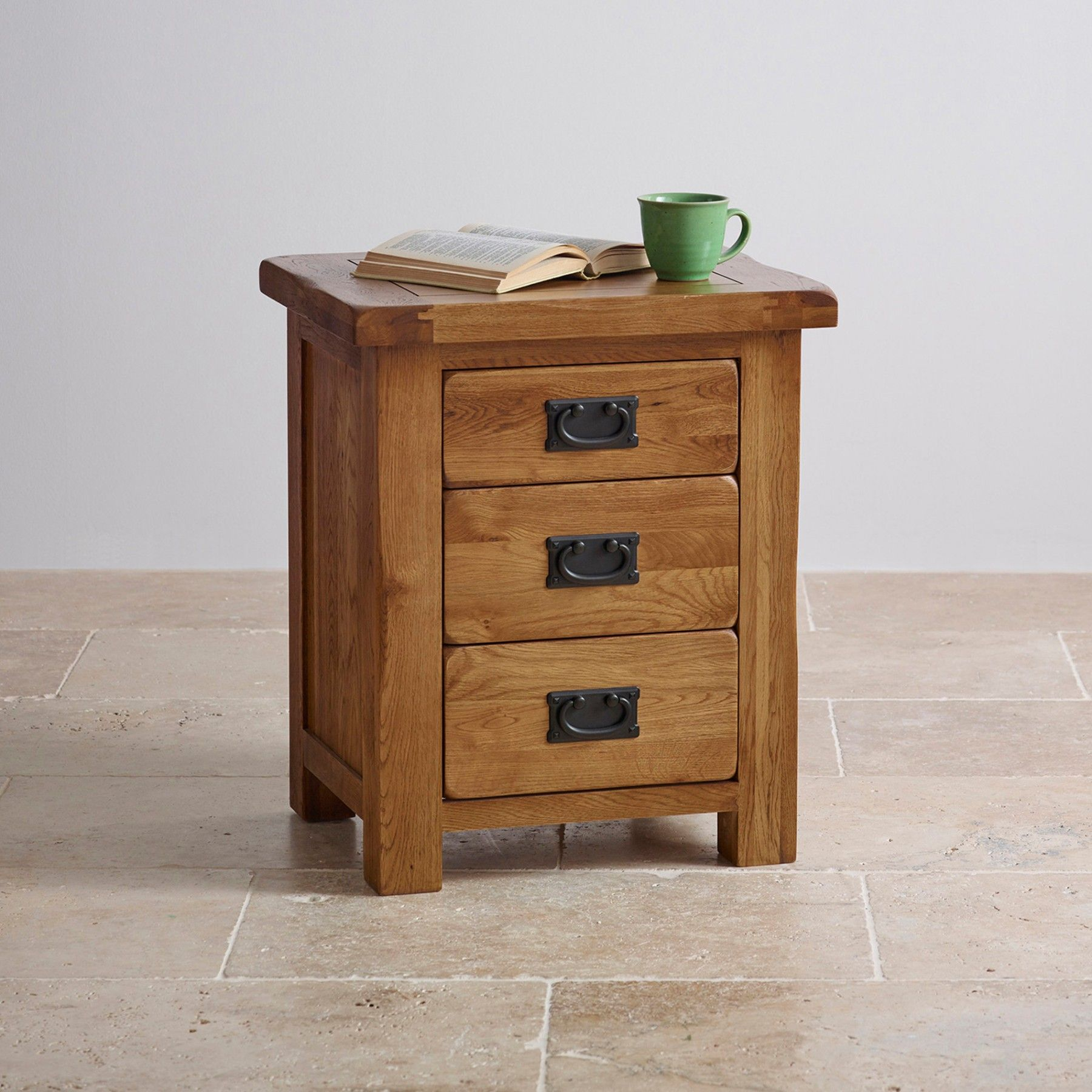 Original Rustic Solid Oak Nightstand- 3 Drawer