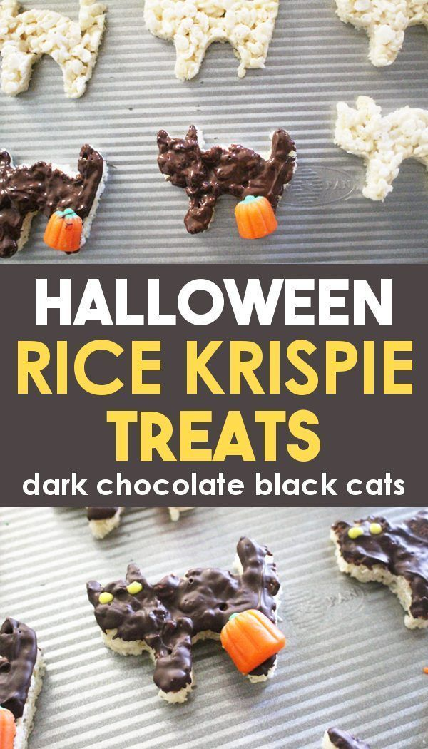 Dark Chocolate Black Cat Halloween Rice Krispie Treats #halloweenricekrispietreatsideas A fun Halloween Rice Krispie Treats ideas for kids using dark chocolate and a black cat cookie cutter! Make these easy gluten free rice krispie treats for delicious Halloween snacks for kids or families! A great lunch box dessert idea for the fall or bring them to a classroom Halloween party! These cute DIY treats are a creative addition to any desserts tray. Try them now for a not so scary or spooky Hallowee #halloweenricekrispietreatsideas
