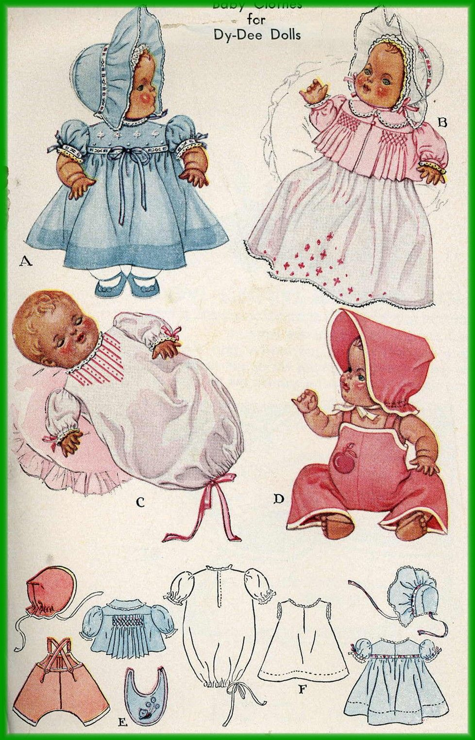 1940s Doll Clothes Pattern For 20 Inch Dy Dee Doll By Effanbee 713 Doll Sewing Patterns Baby Doll Pattern Doll Clothes Patterns