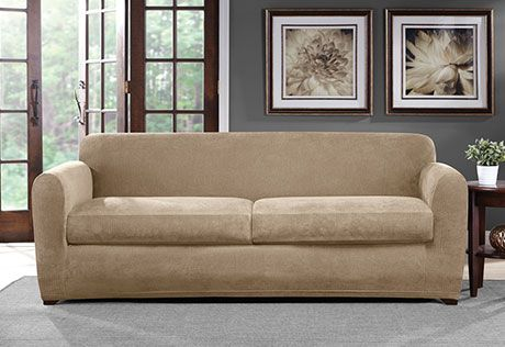 Two Cushion Sofa Slipcover Cotton Throws Indian Ultimate Stretch Chenille Three Piece Home Decor Photo Of