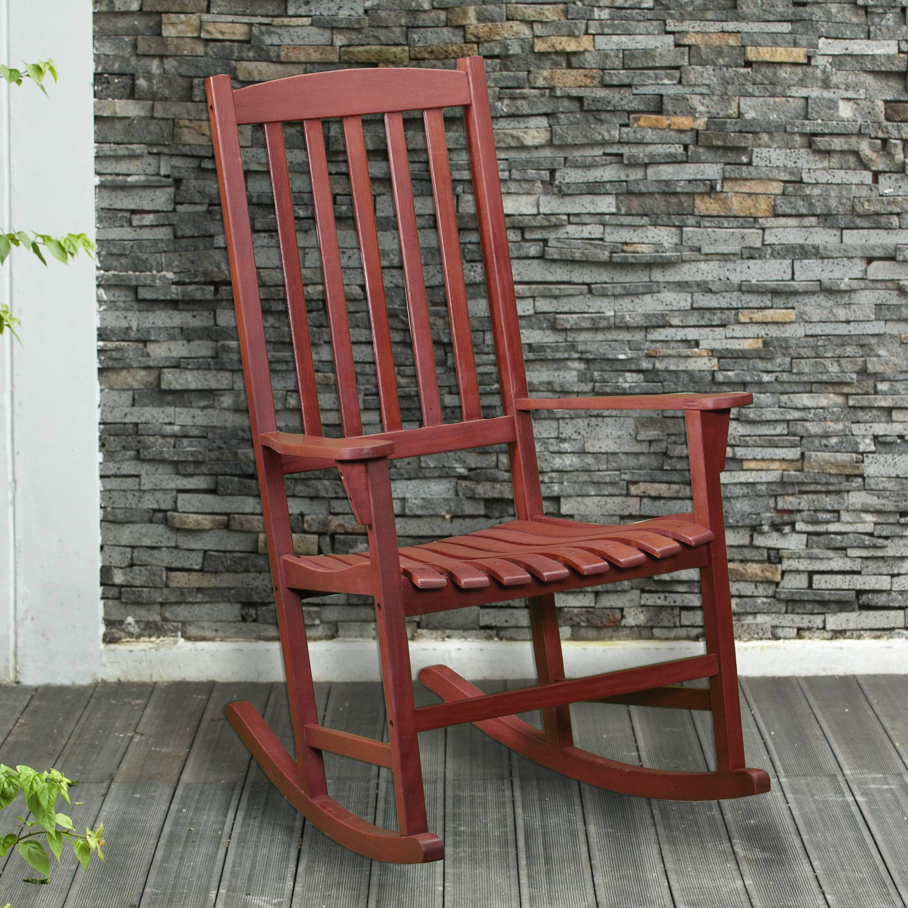 Sit pretty in this beautiful Upton Home hardwood rocker! The rich dark brown color of the natural oiled finish will be the perfect addition to your patio, sunroom or deck. Features a curved seat for added comfort and an airy slated design for quick drying