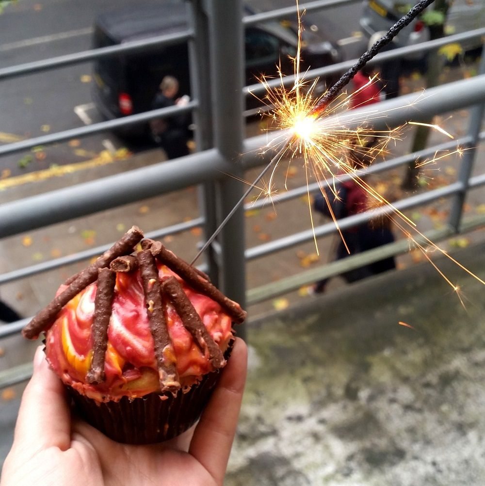 Bonfire night sparkler cupcake
