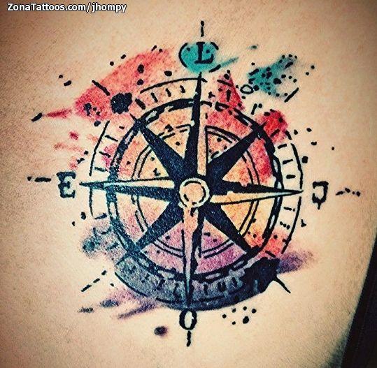 Tatuaje De Rosa De Los Vientos Acuarela Tattoo Tatoo And Tatoos